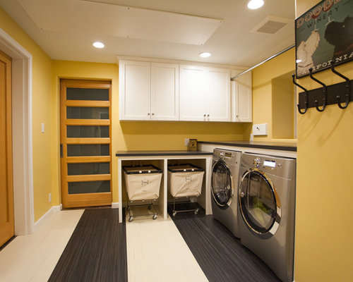Large Laundry Room Design Ideas, Remodels & Photos with an Integrated Sink