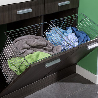Example of a minimalist laundry room design in Boston