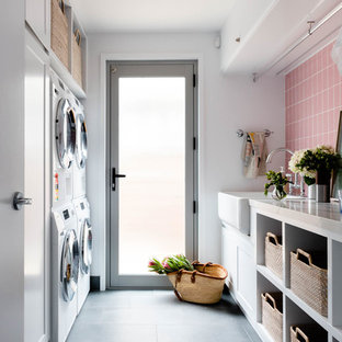Design ideas for a transitional laundry room in Brisbane.