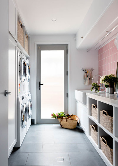 Transitional Laundry Room by B Organised