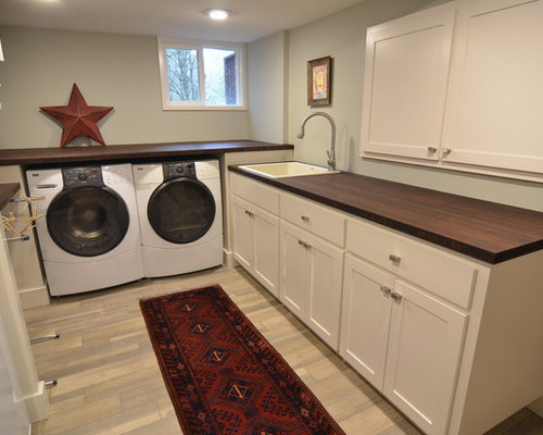 ... Laundry Room Design Ideas, Remodels & Photos with Wood Countertops