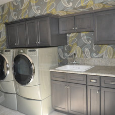 Transitional Laundry Room by Joan Gilbert Designs
