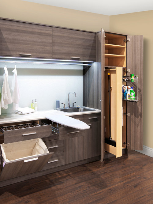 Single-Wall Laundry Room Design Ideas, Remodels & Photos with Flat-Panel Cabinets