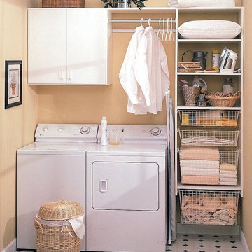 Laundry room designed for a small space to include lots of storage