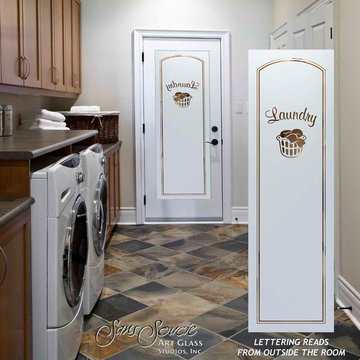 Laundry Room Door - Sandblast Frosted Glass - LAUNDRY BASKET 2