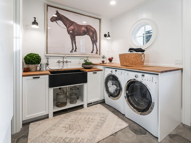Farmhouse Laundry Room by KuDa Photography