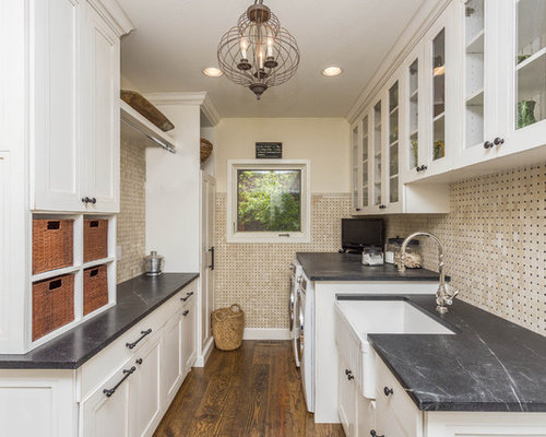 Large Farmhouse Galley Medium Tone Wood Floor And Brown Floor Utility Room  Idea In Phoenix With