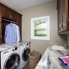 eclectic laundry room by Susan Brunstrum of SWEET PEAS DESIGN INC