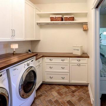 Laundry Room w/ Custom Wood Countertops, Tile Backsplash, Phone Charging Station