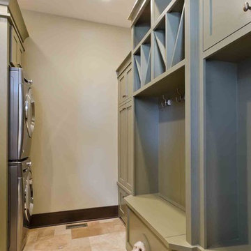 Laundry room with a home for the family dog