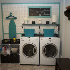 Contemporary Laundry Room laundry room with peg board