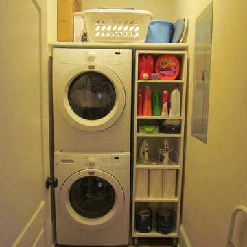 Laundry Room with Rolling Shelves