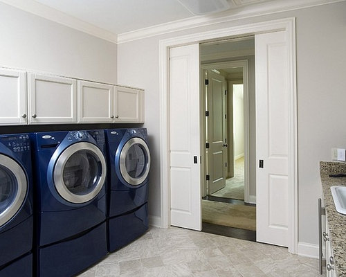 Huge Traditional Galley Limestone Floor Dedicated Laundry Room Idea In  Chicago With A Drop In