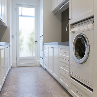 Laundry room with wine storage