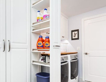 Laundry Room with Workbench and Storage