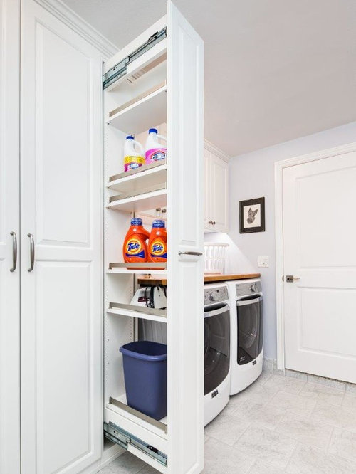 Elegant Laundry Room Photo In San Francisco With Raised Panel Cabinets,  White Cabinets And
