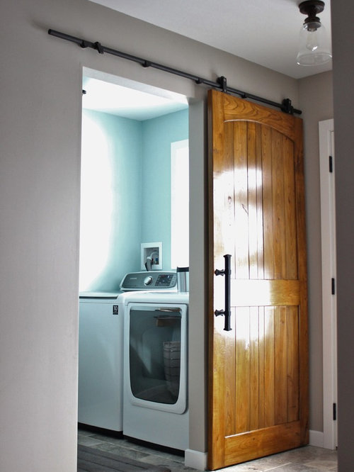 Industrial Laundry Room Design Ideas, Remodels & Photos with White Cabinets