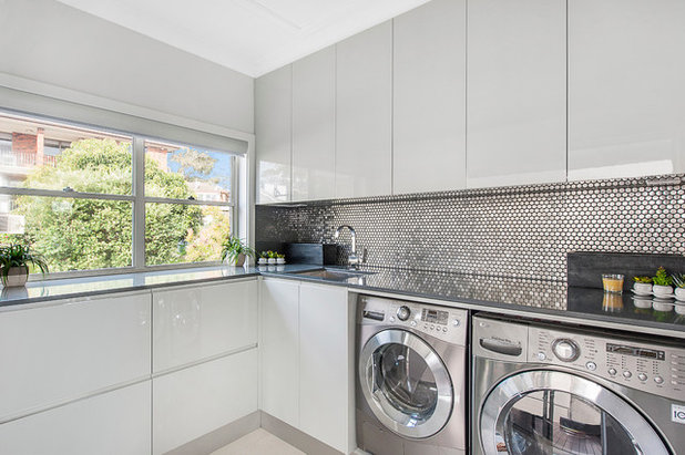 Contemporary Laundry Room by Liz Kalaf Photography