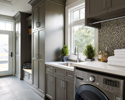 Best Transitional Laundry Room with Brown Cabinets Design ...