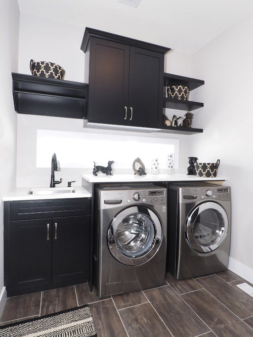 Laundry Room Design Ideas, Remodels & Photos with Black Cabinets
