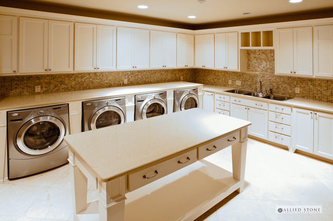 Mediterranean Laundry Room by Allied Stone