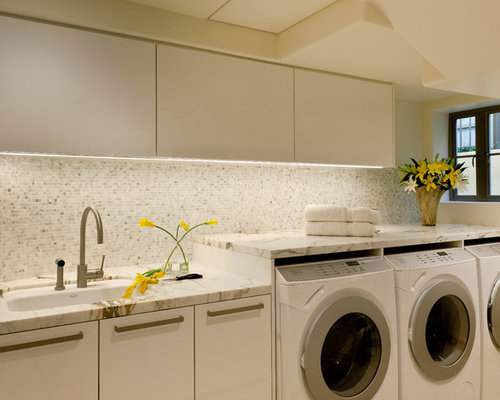 Example Of A Trendy Laundry Room Design In Los Angeles With An Undermount  Sink