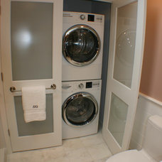 Transitional Laundry Room by Artisan Kitchens LLC