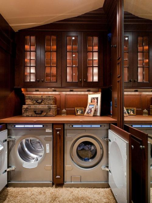 buanderie avec un placard porte vitr e photos et id es d co de buanderies. Black Bedroom Furniture Sets. Home Design Ideas