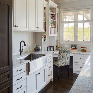 Metal farmhouse sink in family workshop/laundry room