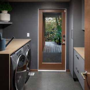 Inspiration for a 1950s laundry room remodel in Seattle