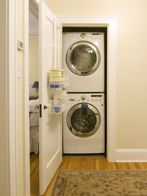 Inspiration For A Timeless Laundry Closet Remodel In Minneapolis With Stacked Washer Dryer