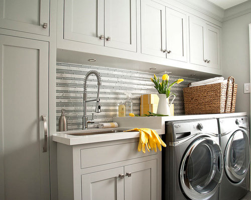 Laundry Countertop Materials : 50 Laundry Room Design Photos with Solid Surface Countertops and an ...