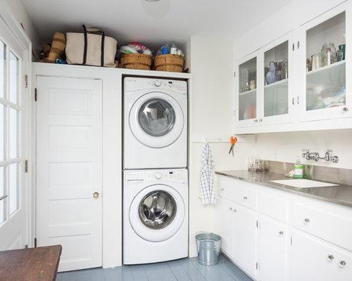 buanderie parall le avec un plan de travail en inox photos et id es d co de buanderies. Black Bedroom Furniture Sets. Home Design Ideas