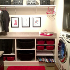 Modern Laundry Room Modern Red, Black & White Laundry Room
