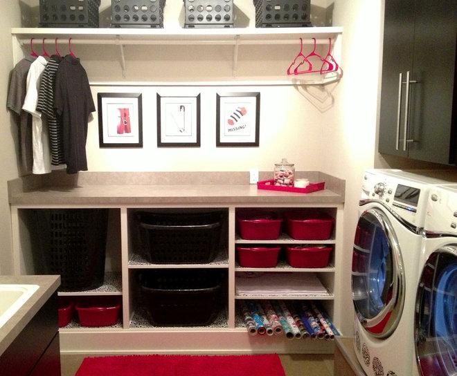 Modern Laundry Room Modern Red, Black & White Laundry Room