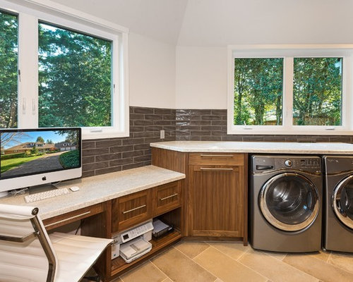 Home office ideas houzz for Laundry room office