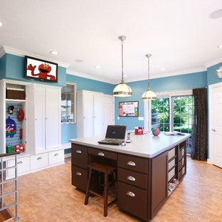 Utility room - mid-sized traditional u-shaped laminate floor and beige floor utility room idea in Chicago with blue walls, white cabinets and shaker cabinets