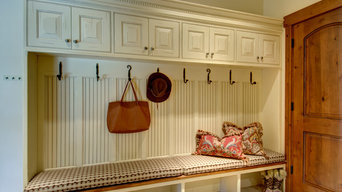 Mudroom storage cubbies, hooks and bench