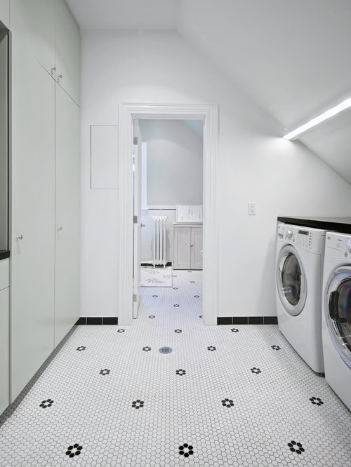 Inspiration For A Mid Sized Scandinavian Galley Dedicated Laundry Room Remodel In Toronto With Flat