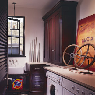 Tropical laundry room in Orange County.