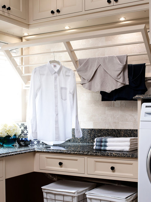 Inspiration For A Timeless Laundry Room Remodel In Toronto With Beige Cabinets And Recessed Panel