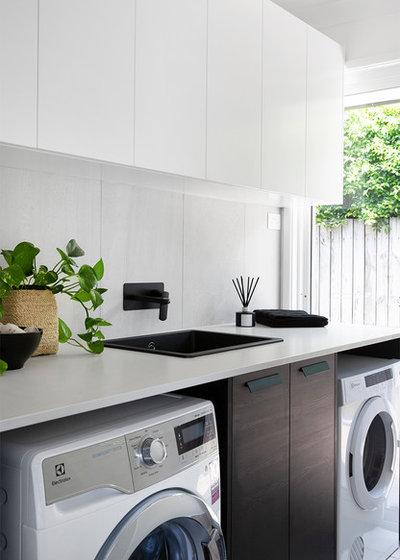 Beach Style Laundry Room by Kim Black Design