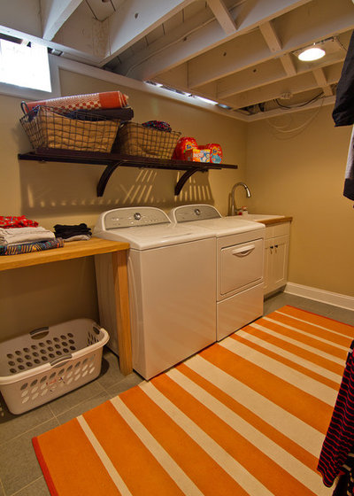 Transitional Laundry Room by Boardman Construction Inc.