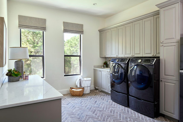 Blue Green And Gray Cabinets Star In The Top New Laundry