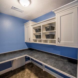 Immagine di una grande lavanderia multiuso moderna con ante bianche, pareti blu, moquette, pavimento marrone e ante con riquadro incassato