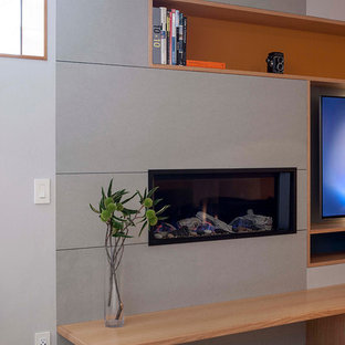Photo of a large modern utility room in San Francisco with grey walls and carpet.