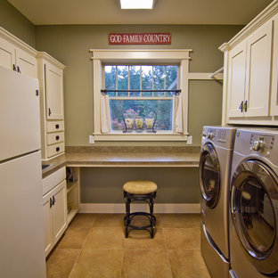 Example of a classic laundry room design in Austin with a drop-in sink