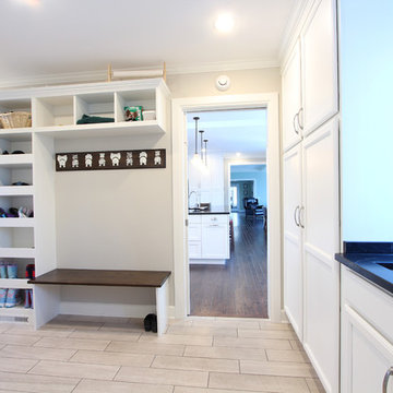 Pantry Cabinets in Mud Room Offer Additional Storage