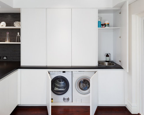 modern laundry room in perth with a single bowl sink white cabinets granite - Utility Room Design Ideas