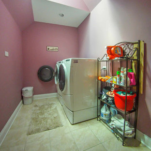 Inspiration for a victorian ceramic tile and beige floor dedicated laundry room remodel in Chicago with pink walls and a side-by-side washer/dryer
